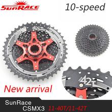 SunRace CSMX3 10 Geschwindigkeit MTB Bike Kassette Freilauf Breite Verhältnis Fahrrad Mtb Freilauf Kassette 11-40 T/11-42 T Ultra-light 387g