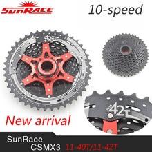 SunRace CSMX3 10 Velocidad MTB Bike Rueda Libre Cassette Amplia Relación de Bicicleta Mtb Rueda Libre Cassette 11-40 T/11-42 T ultraligero 387g