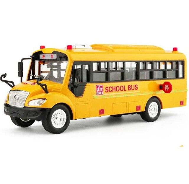 1:24 Mainan Mobil Suara dan Cahaya Sekolah Bus Kuning Model Mainan Mobil Diecast Metal Alloy Model Mainan Hadiah untuk Anak-anak gratis Pengiriman