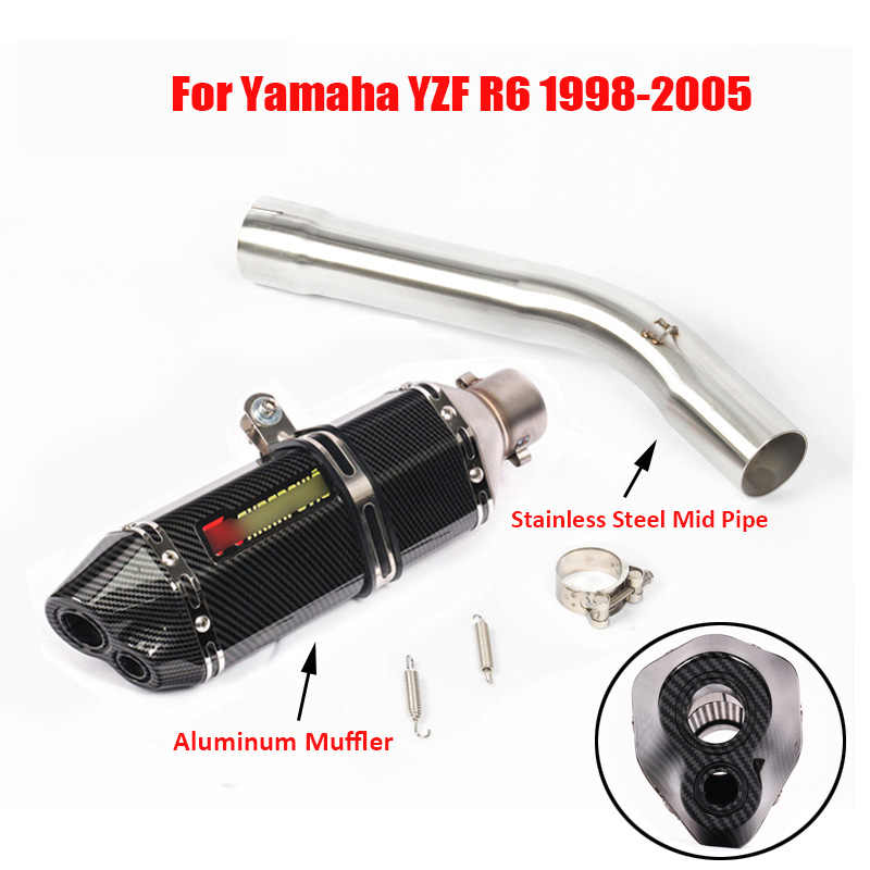 Slip on R6 Exhaust System Tip Muffler Pipe Connect Link Pipe Whole Set for Yamaha YZF R6 1998 1999 2000 2001 2002 2003 2004 2005