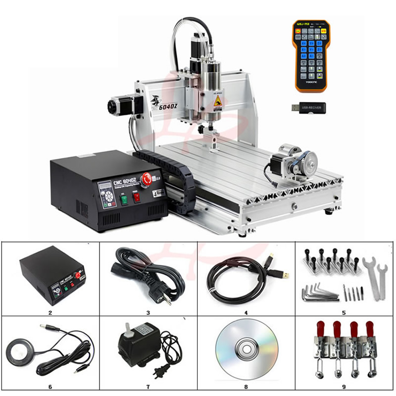 4 Axis Mini CNC Milling Machine CNC 6040 Router Engraver USB 2.2KW CNC Metal Engraving Machine With Rotary Axis Limit Switch no tax to russia 4 axis cnc milling machine cnc 6040 router engraver usb 2 2kw with rotary axis cnc controller and limit switch