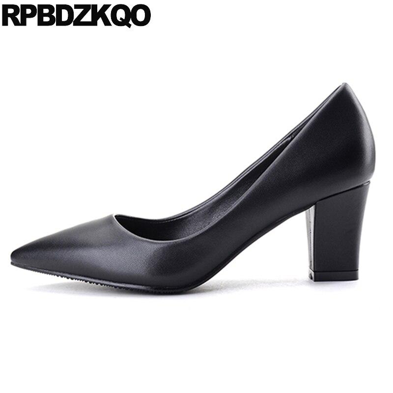 Mujeres Otoño 4 3cm 5cm Elegante Damas Calzado Oficina Black Punta 2017 Medio On black 5cm Slip Bombas 1 black Tamaño Tacones 2 33 Zapatos De Bloque Negro 34 wxS5B8