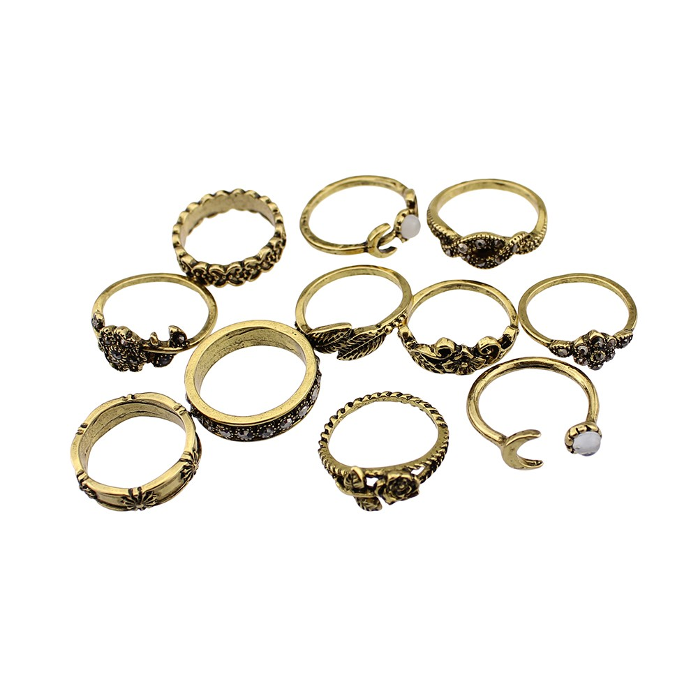 HTB1u7ZoOFXXXXaaXFXXq6xXFXXXJ 11-Pieces Boho Chic Spirituality Silver Plated Antique Stackable Ring Set - 9 Sets