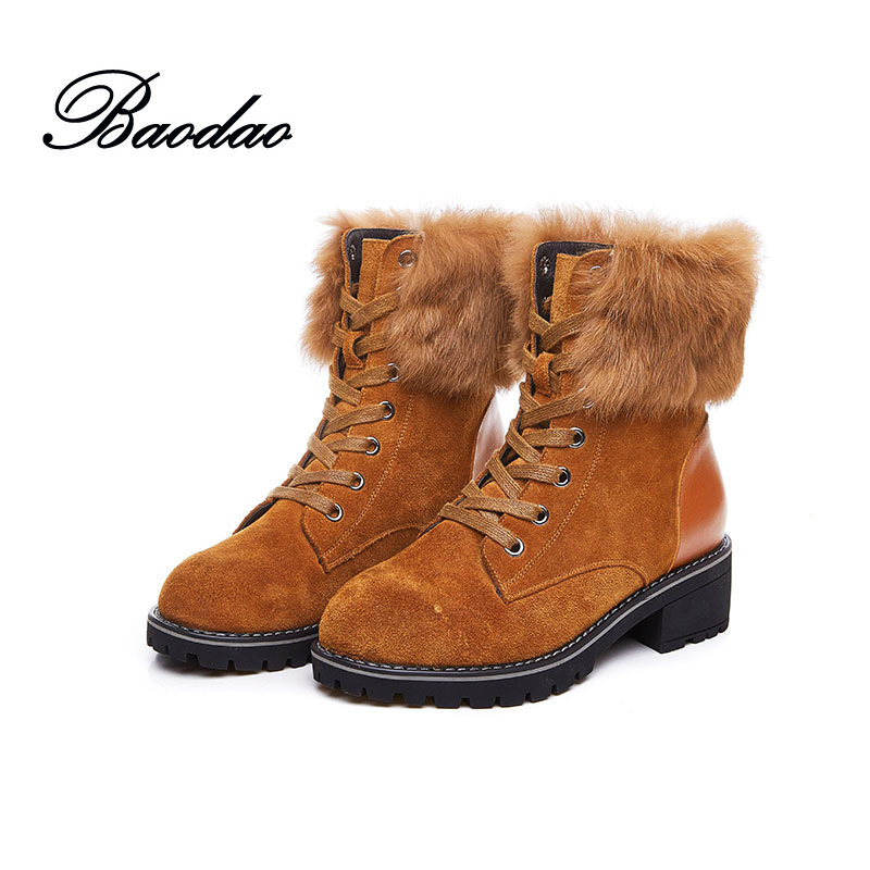 Women Martin Leather Boots British Style 2017 New Winter Boots with Fur Square Heel All-match Nubuck Genuine Leather Botas Suede
