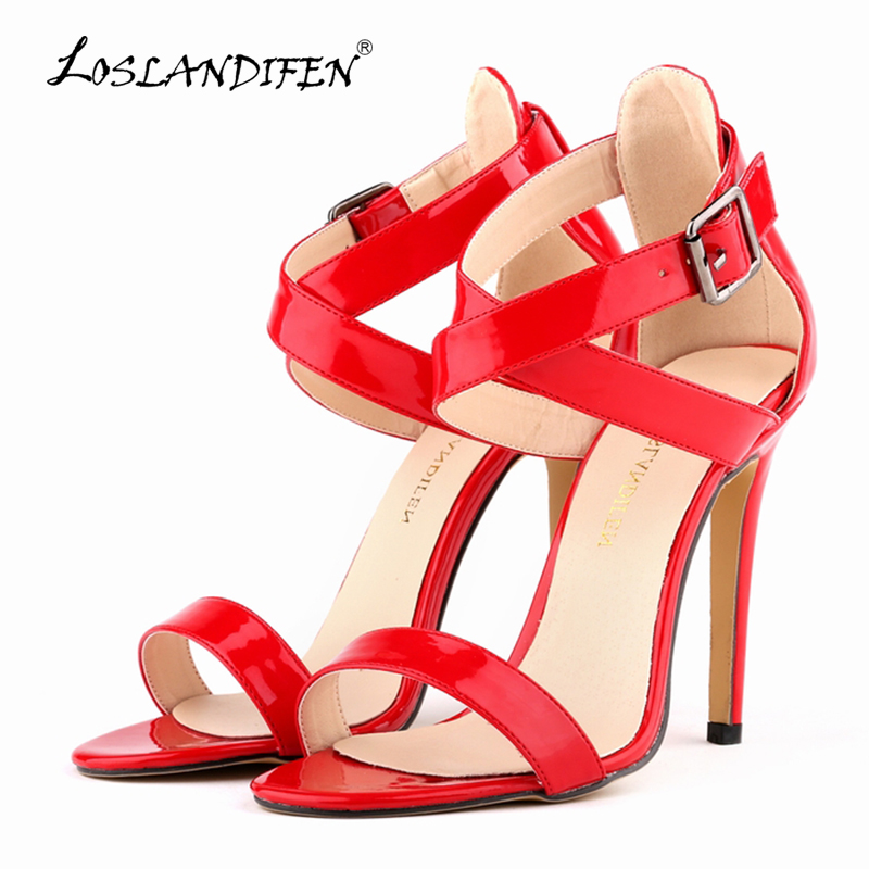 LOSLANDIFEN Women SEXY PARTY OPEN TOE BRIDAL PATENT LEATHER HIGH HEELS SHOES SANDALS US SIZE 4-11  14 color 102-4PA aidocrystal wite open toe pearls high heel shoes women bridal party shoes made in china