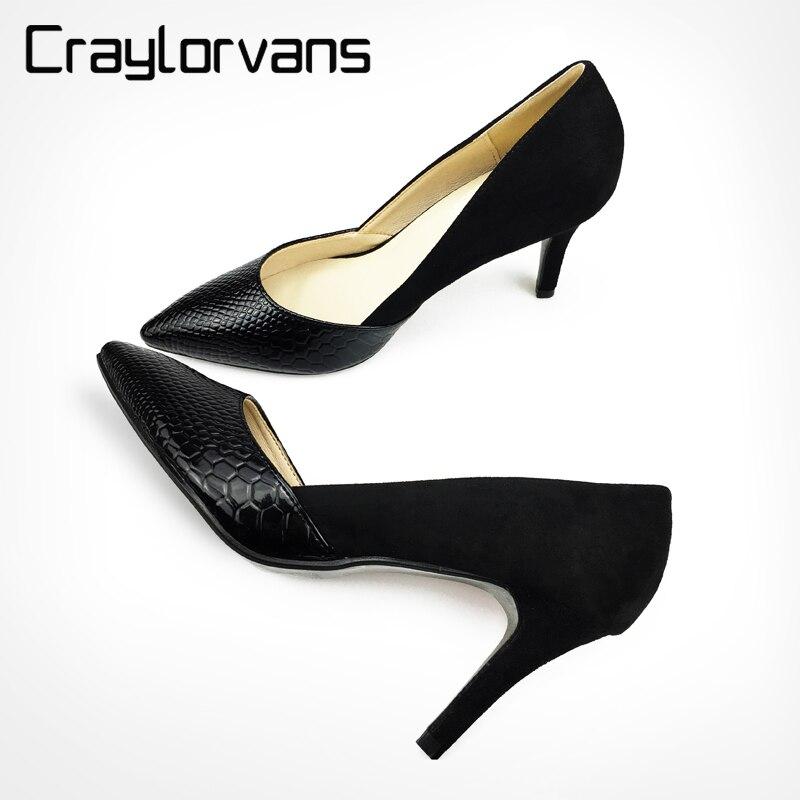 MAYA 2018 Mulheres sexy bombas finos sapatos de salto alto com preto cores top apontou sapatos para as mulheres casual ou festa bombas sapatos