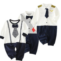Tiny Cottons Baby Romper New Born Baby Gift Clothes Infant Autumn Rompers Long Sleeved Kids Clothes Gentleman Jumpsuits
