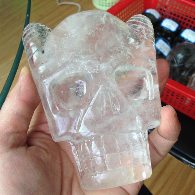 TT267(543g) Natural Clear Quartz Crystal Skull Face  Carved Stone Healing Quartz Special Skull for Sale