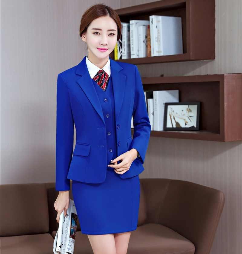 b21aa619d Blazer verde Formal para mujer trajes de negocios con chaleco de 3  unidades, falda y chaqueta conjuntos de oficina para damas ropa de trabajo  uniforme ...