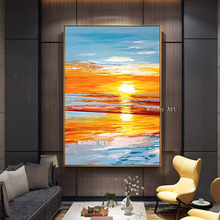 Beautiful Sunset Landscape Canvas painting Handpainted Seaside View Oil Painting Posters Sea For Home Decor Gift
