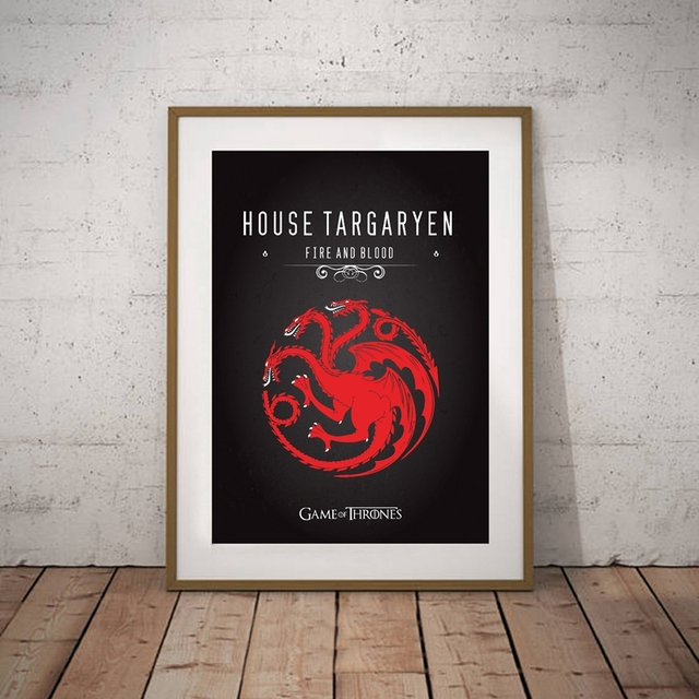 Game Thrones Wall Art Canvas Print Targaryen Banner Poster Stark Movie