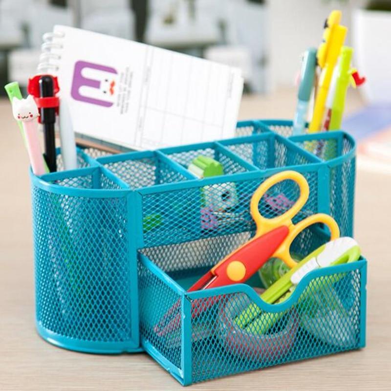 Creative Office Stationery box Basket Metal Iron Desktop Cosmetic Storage Box Desktop Ma ...
