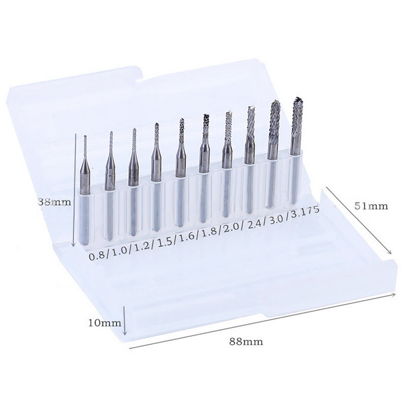 цены Hoomall 10Pcs 1/8'' 0.8-3.175mm PCB Twist Drill Bit Set Engraving Cutter CNC End Mill For Metal Drill Bit CNC Engraving Machine
