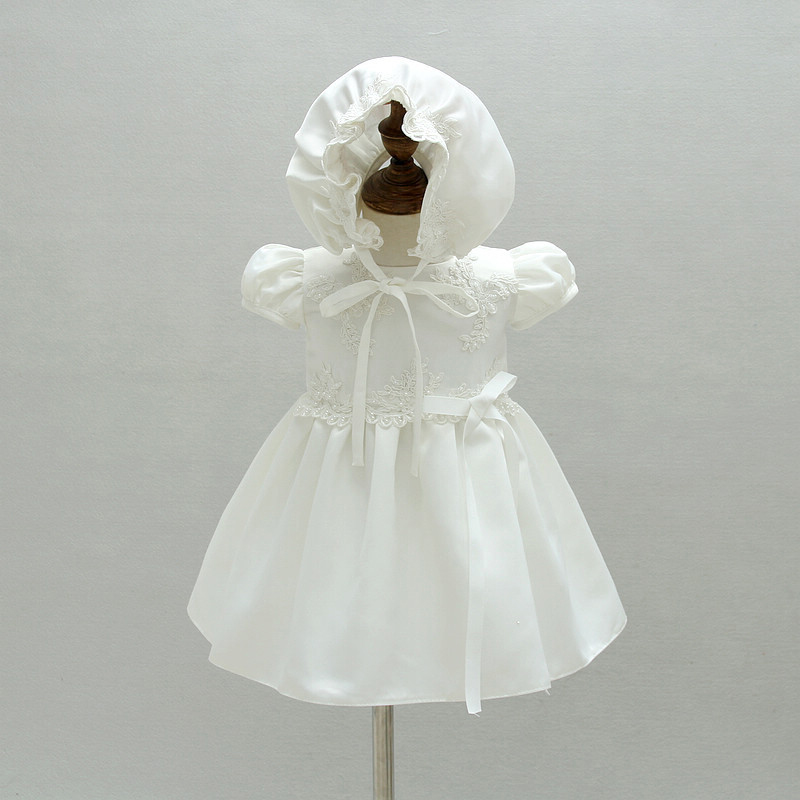 Christening Dress Satin Baptism Gown Flower Embroidered Dress with Bonnet White Newborn Baby Special Occasion Wear A015 Vestidos satin embroidered slip dress with robe