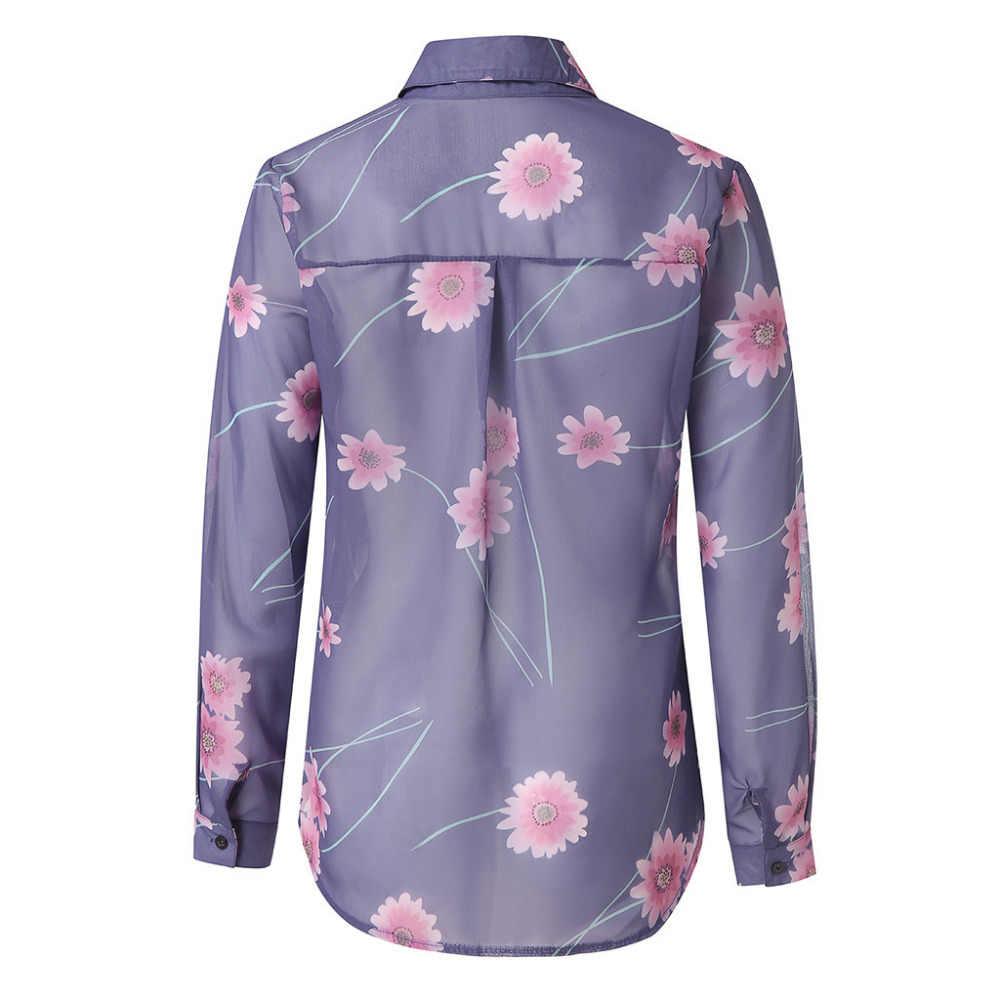 المرأة فضفاض بلوزة شيفون بدوره إلى أسفل طوق النساء قمصان الأزهار طباعة السيدات كم طويل قميص Blusas البلوزات النساء Tunika جديد