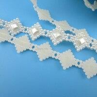Marfil/Blanco 13mm 10yd/roll weddingdress accesorios perla del abs de flatback de coser perlas ropa de recorte para el vestido de boda joyería