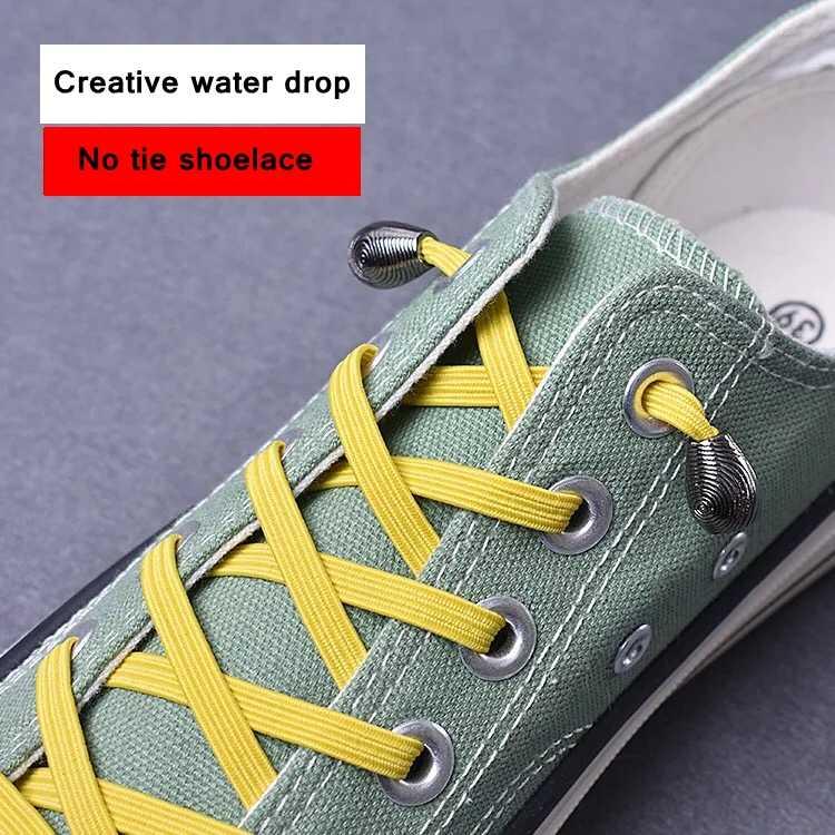 1 par de Cabeça de Metal Plana Atacadores de sapatos Sem Cadarços Tie Crianças Adulto Rápida Tênis Cadarço Elástico Cadarço 21 Cores lacets cestas