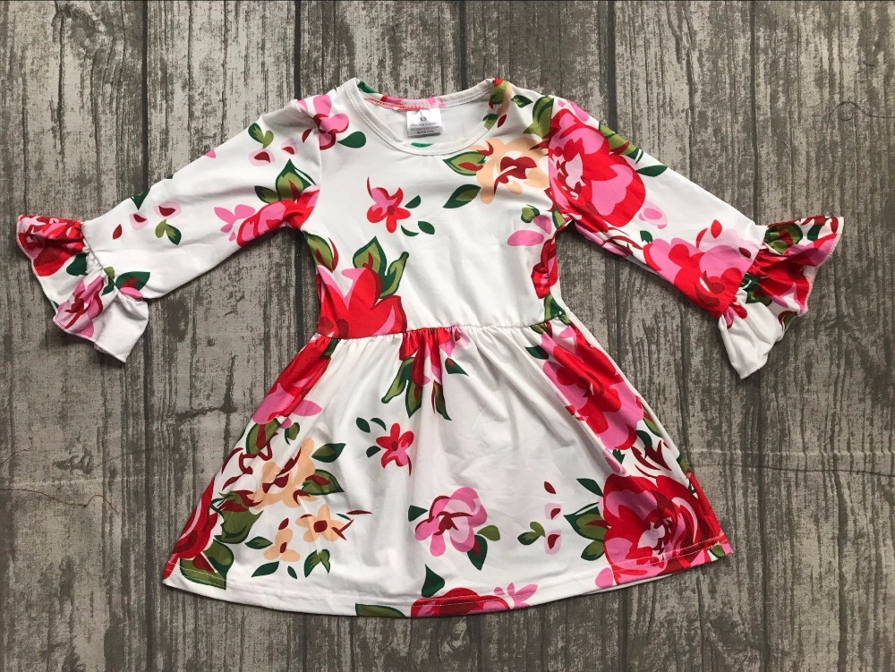fall/winter baby girls milk silk soft cotton dress white floral flower print ruffle long sleeve children clothes boutique kids thanksgiving baby girls kids fall striped brown outfits dress pumpkin boutique cotton sleeve children clothes match accessory
