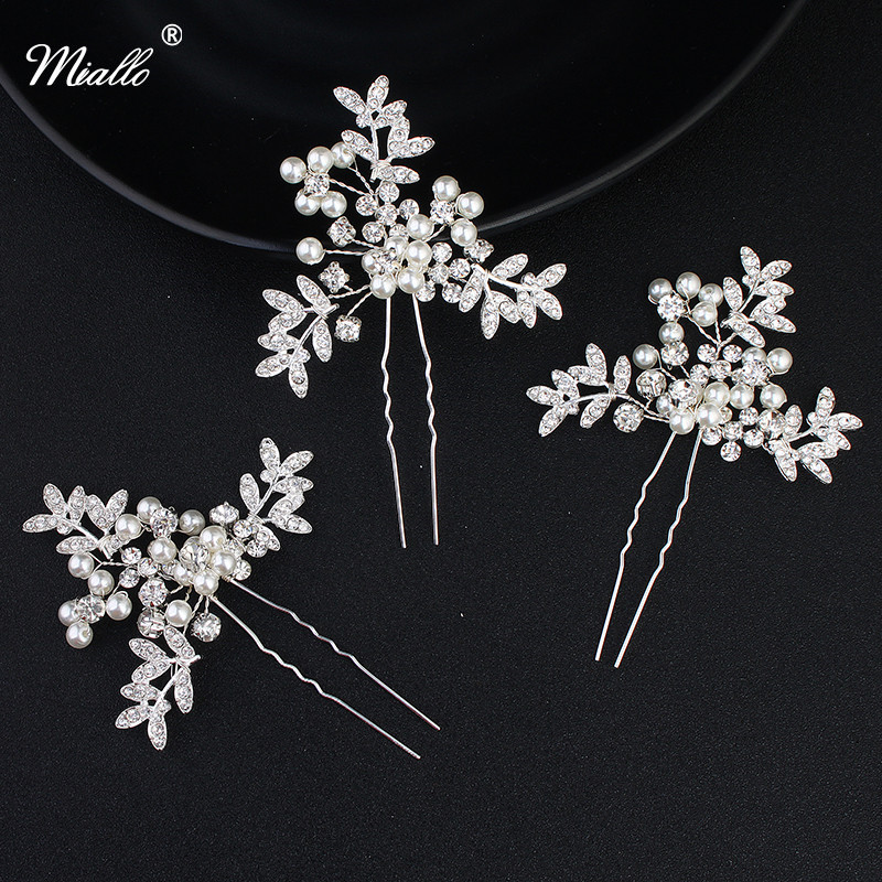 Miallo pcs lot Pastoral Style Wedding hairpins Rhinestone Pearls Hair Stick Wedding