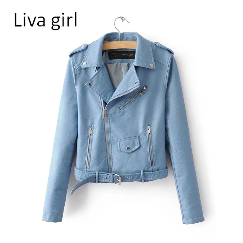 Liva Girl 2017 Autumn Women New Fashion Leather Jacket Solid Color Long Sleeve Zipper Slim