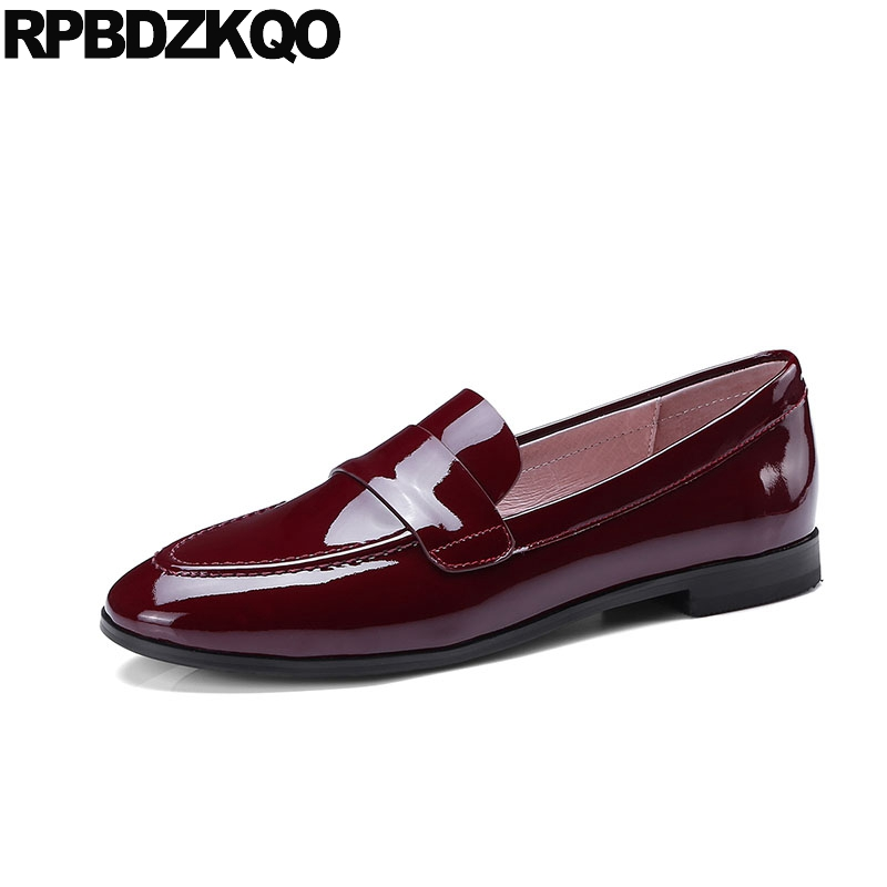red wine slip on loafers flats designer shoes china round toe patent  leather chinese women plain genuine ladies 2018 japanese-in Women s Flats  from Shoes on ... 44de7c736221