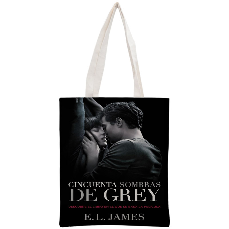 Custom Fifty Shades Of Grey Tote Bag Reusable Handbag Women Shoulder Foldable Cotton Canvas Shopping Bags