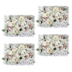 4 piezas paneles de pared de flores artificiales lugar de la boda decoración Floral-blanco y púrpura