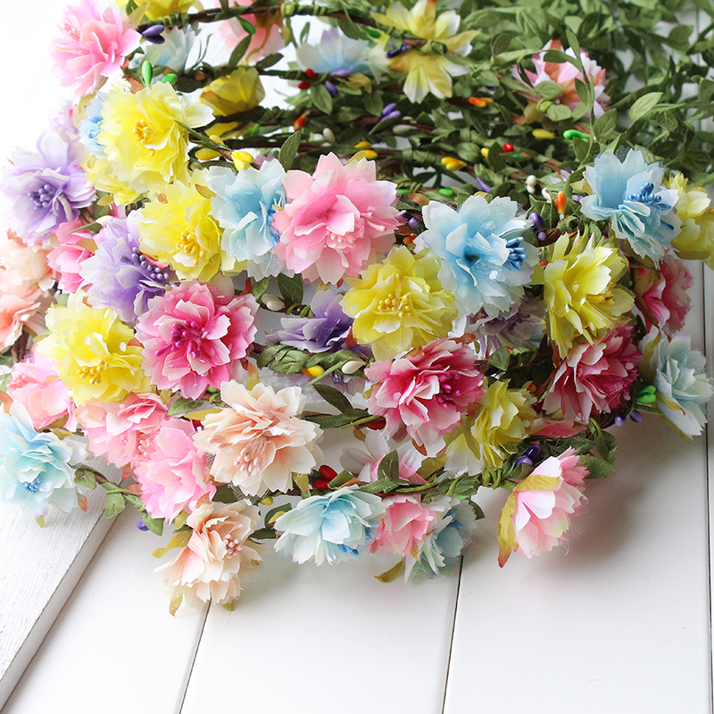 Wildflower rosa blå gul blomma Crown Boho Festival Headband Hippie Floral Head Wreath Halo festival fest barn huvudband