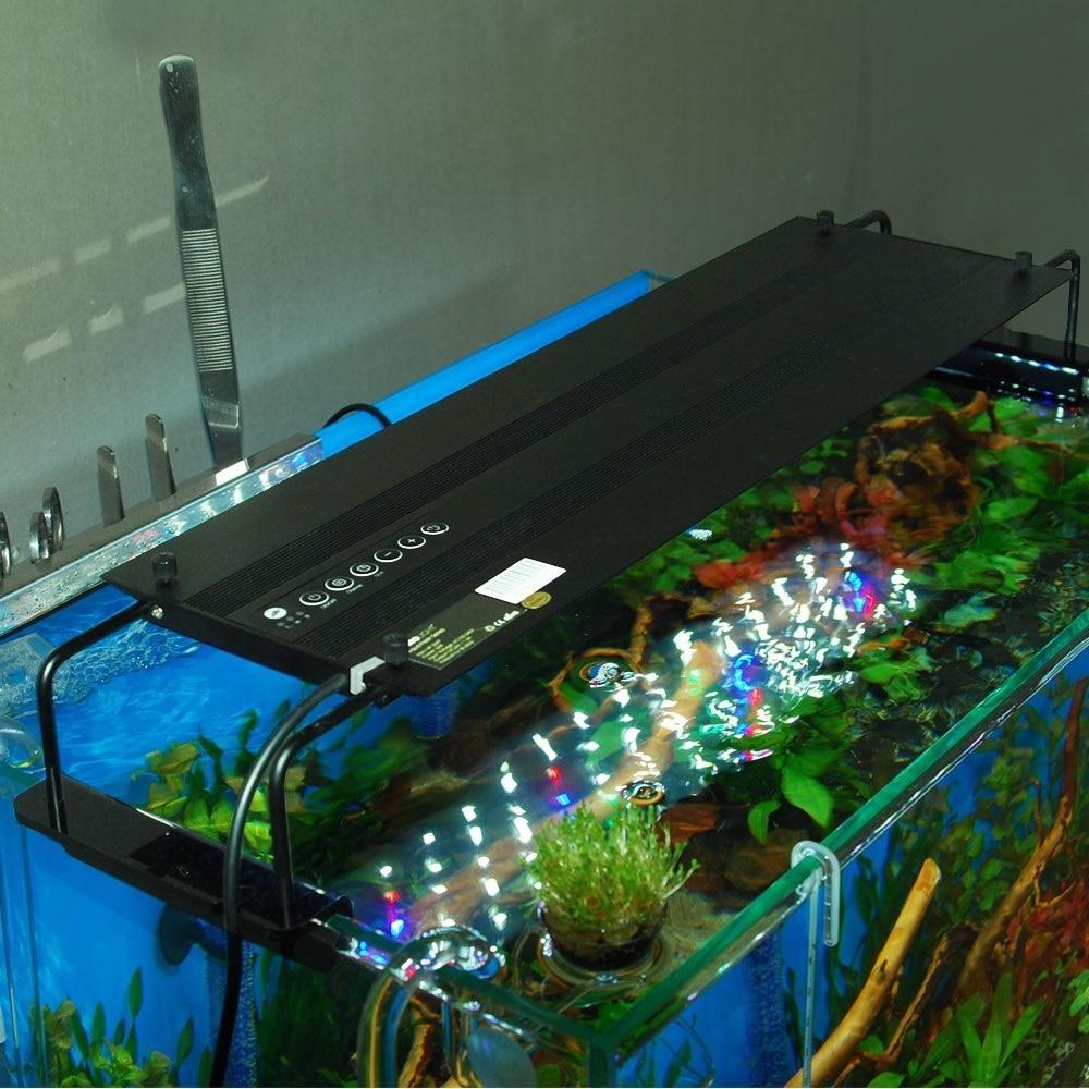 Programovatelné 72W LED akvárium s flexibilním klipem Stmívatelným akuáriovým světlem pro Reef Coral aquario Simulovat východ a západ slunce