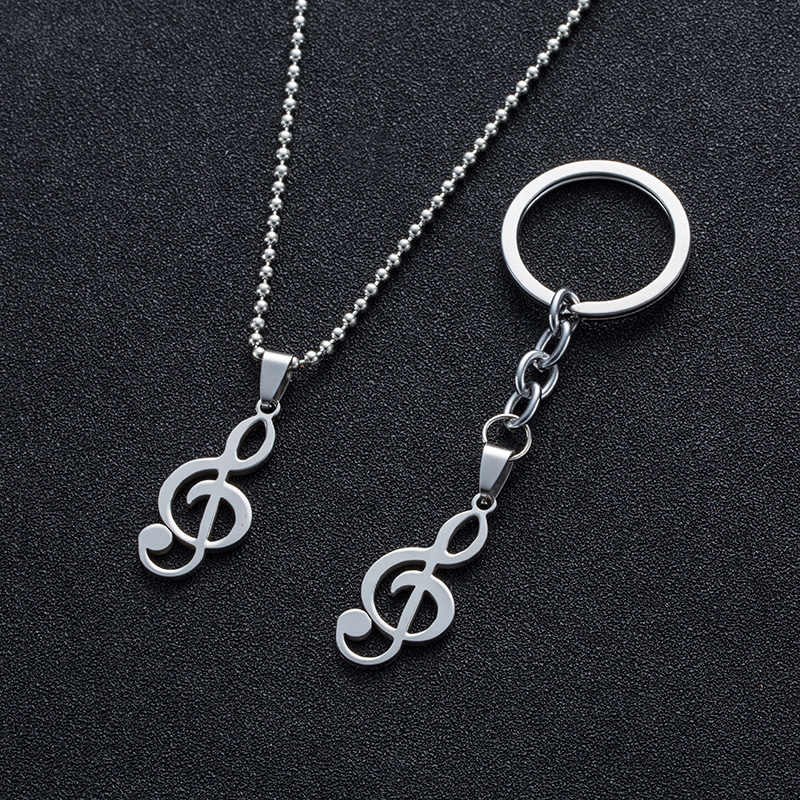 Fashion Collar Men&Women Vintage Musical Note Pendants stainless steel Necklaces&Keychain Charm Necklace for Man