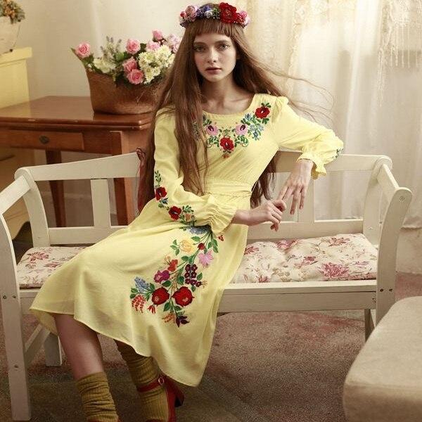 LYNETTE'S CHINOISERIE Autumn Spring Original Design Women Hungary Princess Mori Grils Yellow Embroidered Dress