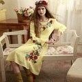 LYNETTE'S CHINOISERIE Outono Primavera Projeto Original Mulheres Hungria Grils Princesa Mori Bordado Amarelo Vestido