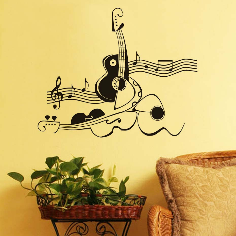 Creative Abstract Guitar And Violin Wall Sticker Musical Note Wall ...
