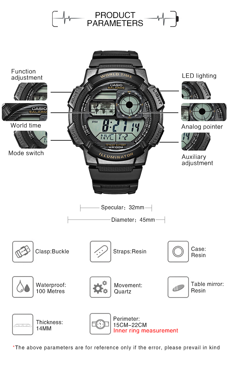 Latest Collection Of Casio Watch 2017 Ae-1100w-1a Digital Men Top Sale Rubber Band Men Sports Watch Waterproof Relogio Masculino Swim Universe Time Men's Watches Watches