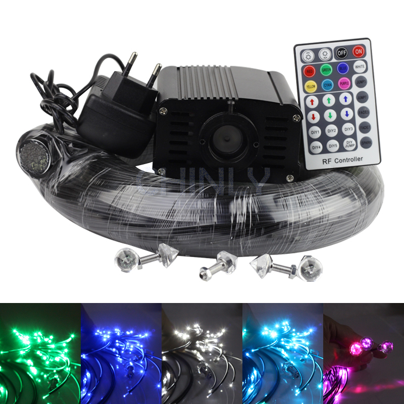 16W RGBW LED plastic Fiber Optic Star Ceiling Kit Light black cable 100pcs*1.0mm*2M+28key RF remote free shipping embossing letters package europe fashion genuine leather single shoulder hand his female bag