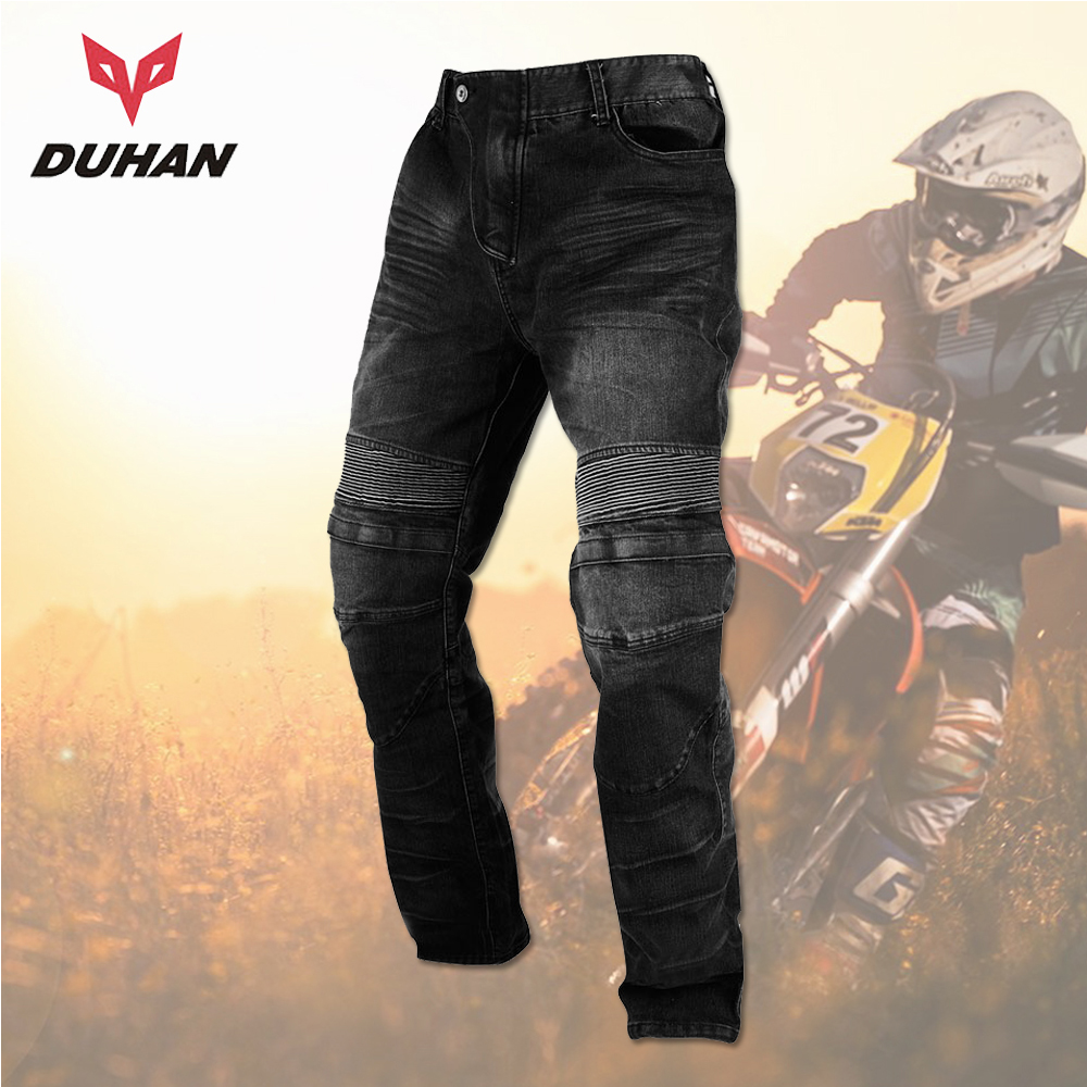 DUHAN Motorcycle Jeans Men Moto Pants Motocross Racing Jeans Black Casual Pants Wearproof Casual Pants  Knee Protector Guards