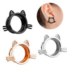 5b7d1e0fc Cute Kitty Ear Plugs Ear Gauge Expander Stretcher for Women Girls Cat Body  Piercing Tunnel Jewelry