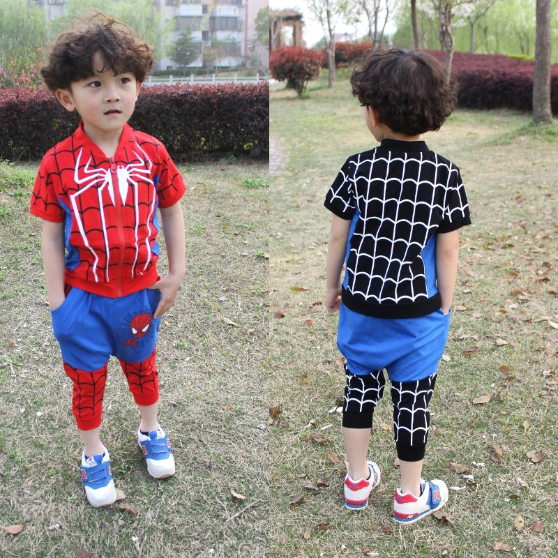ФОТО 2014 New fashion spring summer children's clothing set Spiderman Costume dance kids sport suits T-shirt &  pants