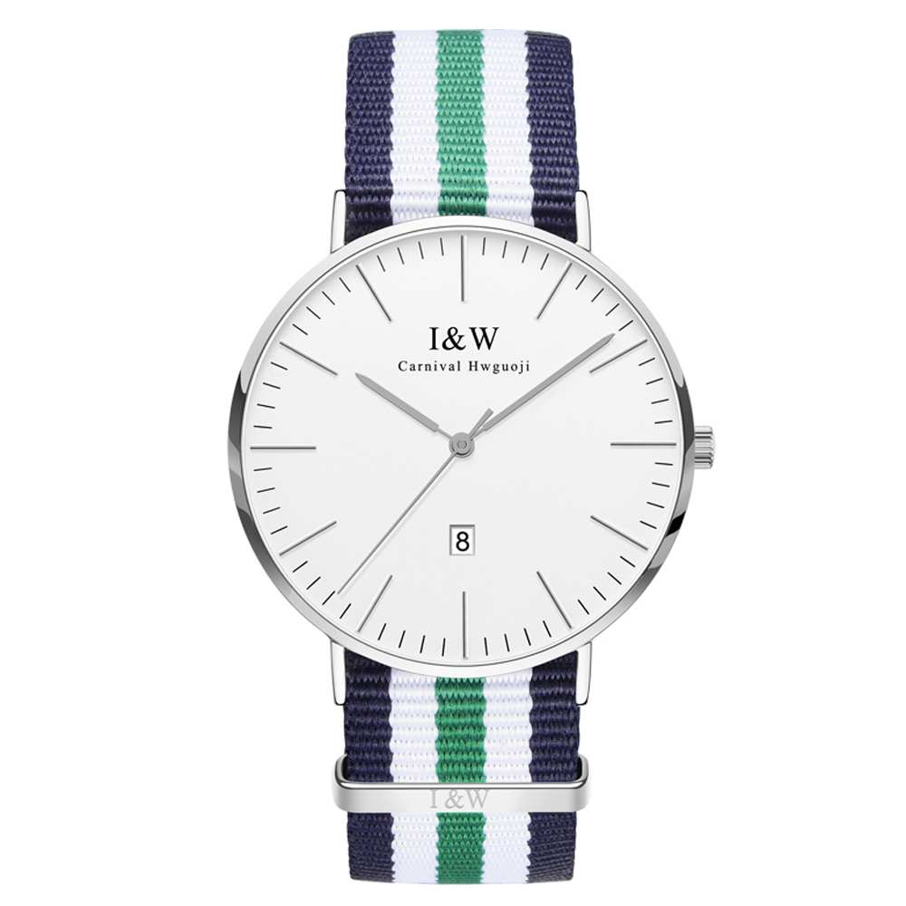 IW 8757G-3 men's Quartz-Watch fabric Classic Canterbury Stainless Steel Watch With Multi-Color Striped Band