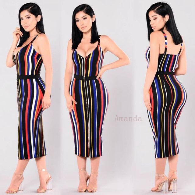 6e8633812 Midi bandagem vestido listrado multicolorido celebridade XL extra grande  tamanho mulheres vestido de verão vestido de