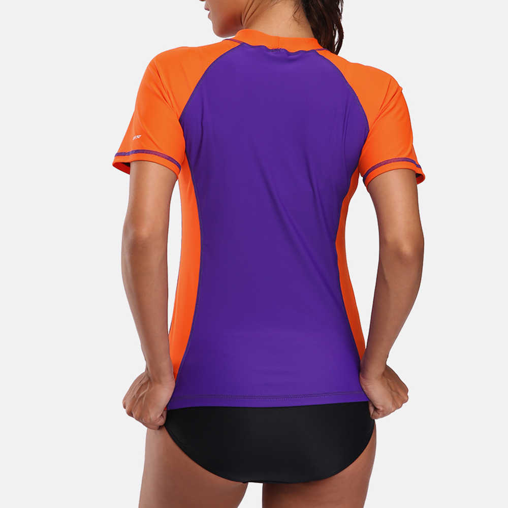 Charmleaks Kurzarm Rash Guard Shirts Frauen Rashguard Bademode Surfen Top Lauf Hemd Radfahren Shirts Badeanzug UPF 50 +