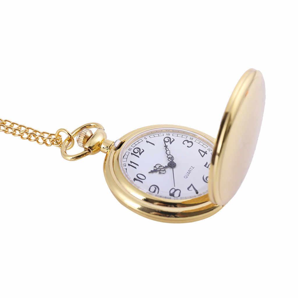 2019 קלאסי גדול שני-פנים זהב אופנה שעון כיס משפט סגנון כיס שעון גבר אישה שרשרת שעון תכשיטי מתנה q527