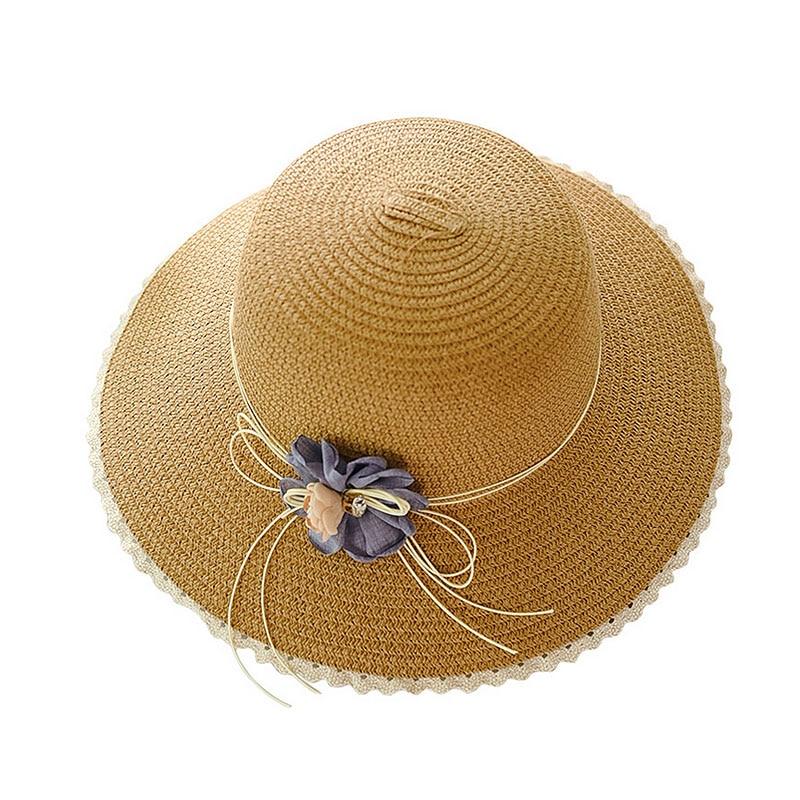 Женские плетеные шляпы от солнца ручной работы с цветочным дизайном, соломенная шляпа с большими полями на шнуровке, Летние Пляжные шапки, женские шапки - Цвет: B