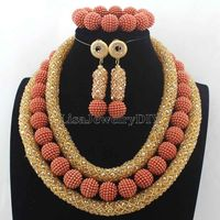 Latest Crystal Beads African Jewellery Set Women Chritmas Gift Nigerian Party Beads Necklace Sets Free Shipping HD7719