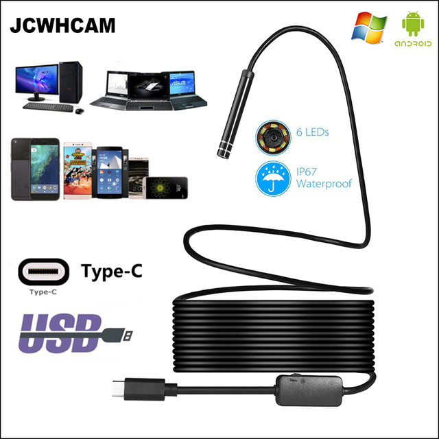JCWHCAM USB TYPE C Endoscope Inspection Camera 5.5/7/8mm 1M 3M 5M Flexible Snake Cable Type C Android Endoscope Video Camera