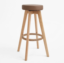 Wooden Swivel Bar Stools Modern Natural Finish Round Leather Foam Seat Backless Indoor Commerical Furniture