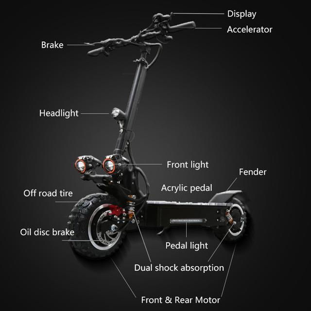 Scooter Eléctrico 11 pulgadas fuera de carretera adultos plegable impermeable