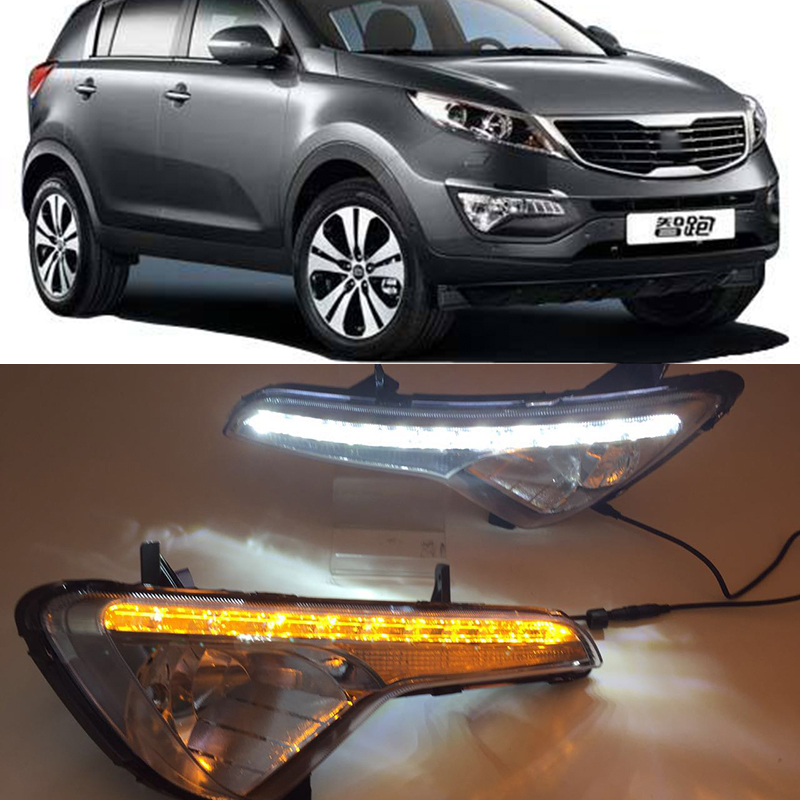 Car Flashing LED DRL Daytime running light for Kia Sportage 2010 2011 2012 2013 2014 fog lamp cover daylight with Yellow Turning-in Car Light Assembly from Automobiles & Motorcycles    1