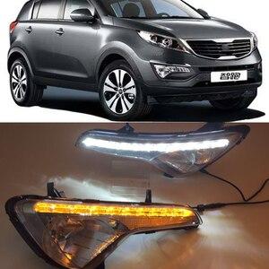 Image 1 - Reflektory samochodowe LED światło do jazdy dziennej DRL dla Kia Sportage 2010 2011 2012 2013 2014 pokrywa lampy przeciwmgielnej światło dzienne z żółty włączanie