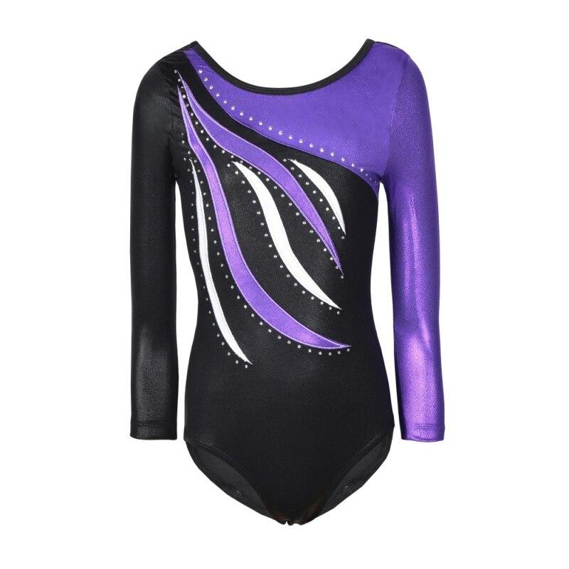Dance Bodysuits For Girl Long Sleeve Striped Sparkle Athletic Gymnastics Costumes Toddler Ballet Leotards Children